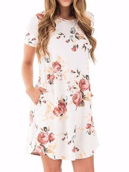 Women Summer Short Sleeve O-neck Beach Casual A-line Sundress Pockets Sexy Slim Floral Printed Navy Blue