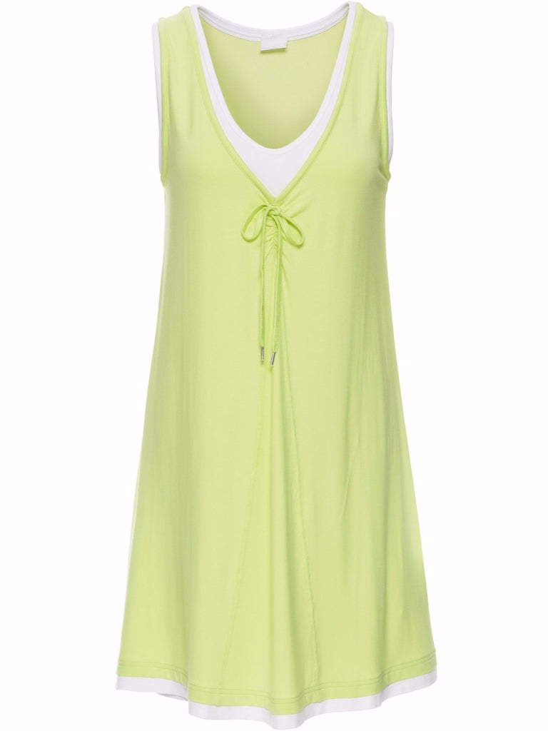 Ladies V-neck Plus Size Chic Sleeveless Short Loose Dress Light Green