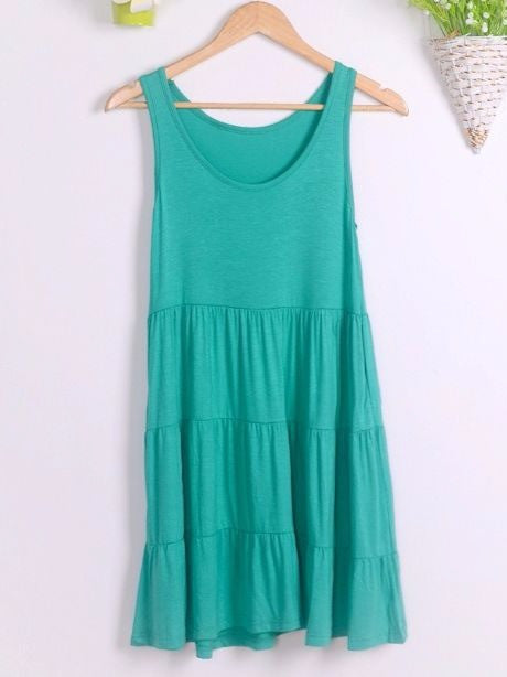 Ladies Plus Size Chic Sleeveless Summer Short Loose Dress Ruffles Hem Dress