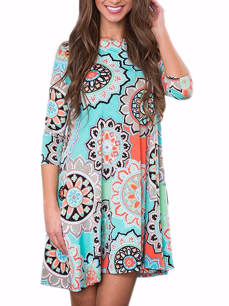Bohemian Retro Printed A-Line Dress with Pockets Half Long Sleeved Red Dress