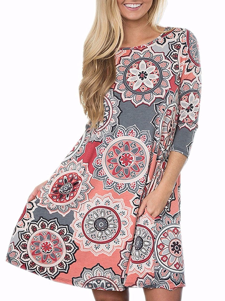 Bohemian Retro Printed A-Line Dress with Pockets Half Long Sleeved Red Dress 94f3069b9
