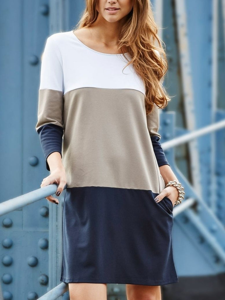 Women Long Sleeve khaki Tunic Dress with Pockets Khaki