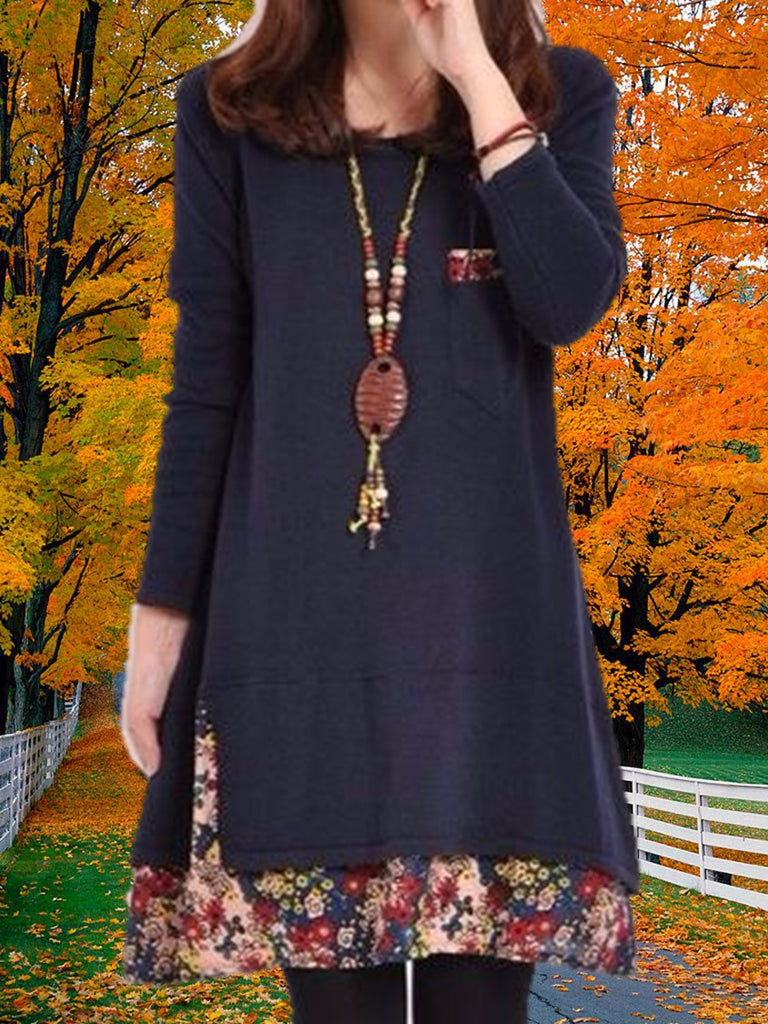 Women Plus Size Loose Long Sleeve Crew Neck Floral Hem Tunic Dress Dark Blue