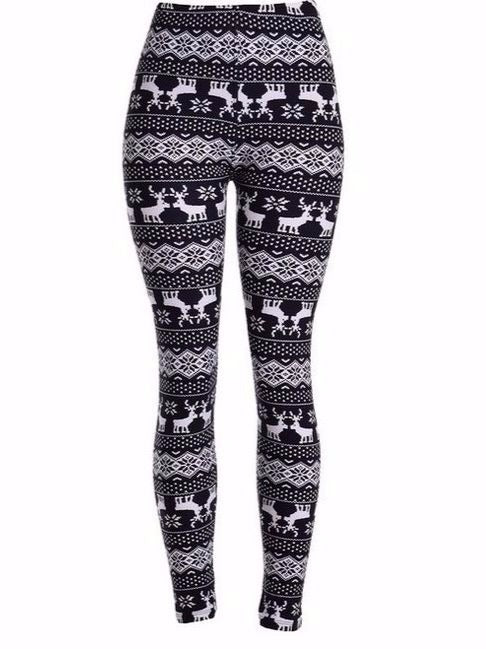 Women Plus Size Chic Ankle-Length Printed Leggings Black Dots
