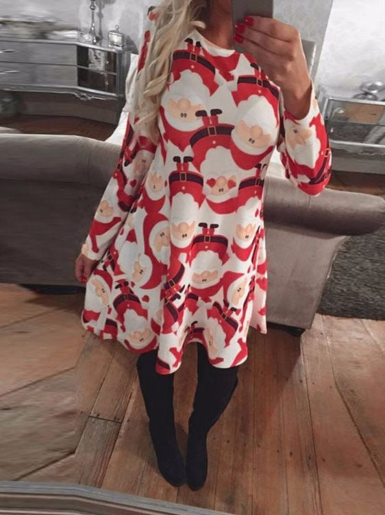 Women Long Sleeve Santa Printed Crew Neck Plus Size Dress