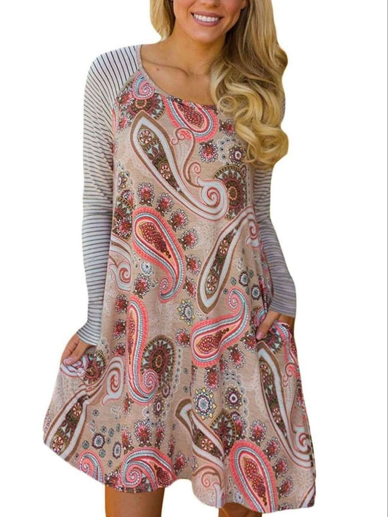 Women Long Sleeve Chic Vintage Printed Crew Neck Plus Size Dress