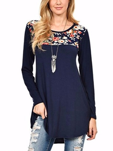 Plus Size Blue Women Floral Print Long Sleeve Tunic Tops Swing Flattering T Shirt S to 4XL