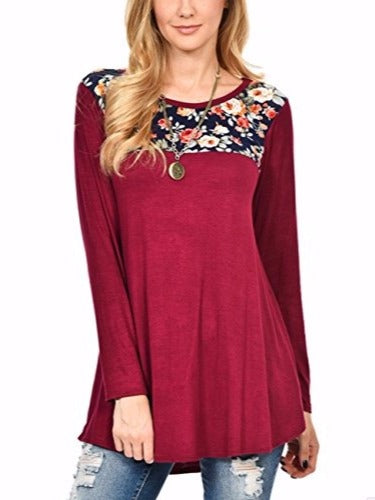 c69996ca5f Plus Size Blue Women Floral Print Long Sleeve Tunic Tops Swing Flattering T  Shirt S to