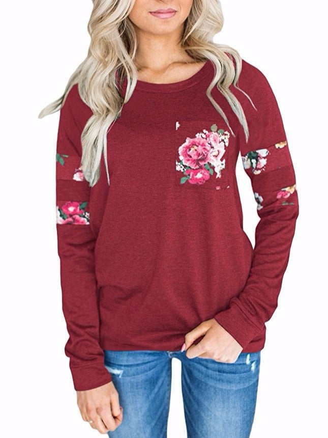 Women's Long Sleeve Crewneck Casual loose Print Pullover T-Shirt Tops
