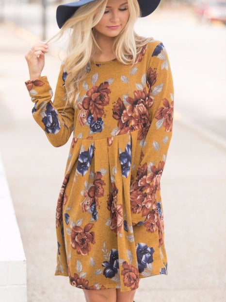 Women's Floral Print Long Sleeve Round Neck Casual A-line Shift Dresses Brown