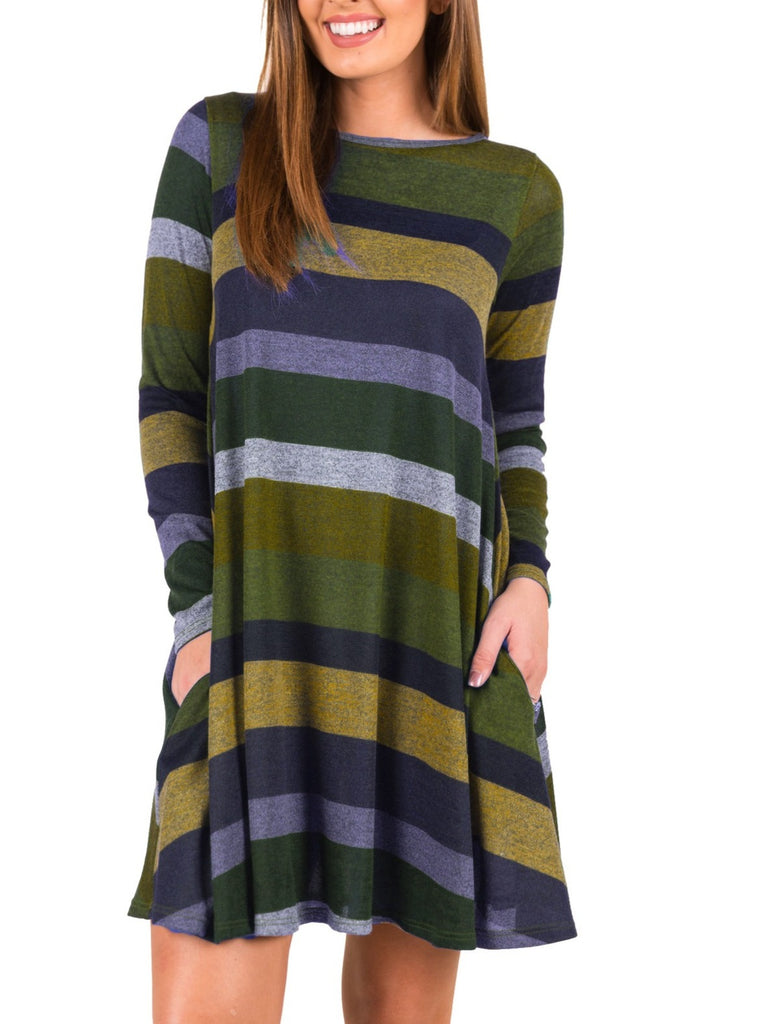 Chunky Striped Long Sleeve Flare Dress