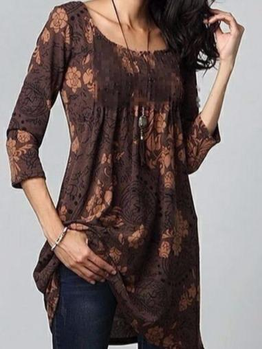 Women Chic Printed Tunic Dress Tops