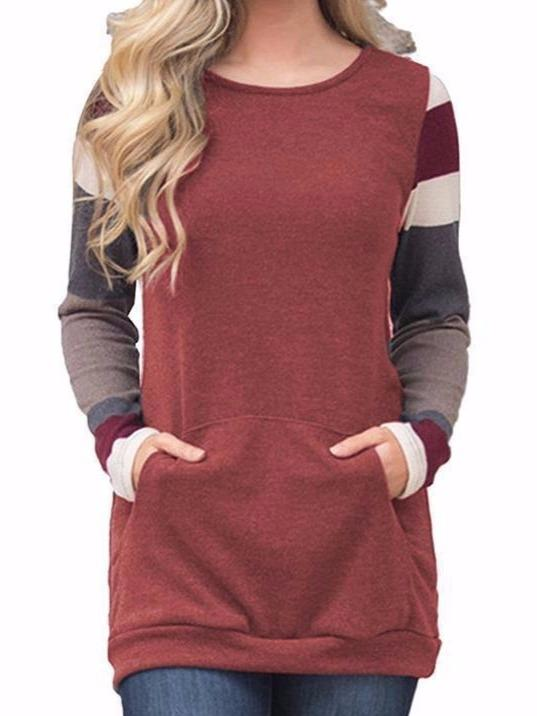 Womens Color Block Long Sleeve Lightweight Tunic Sweatshirt Tops with Kangaroo Pocket