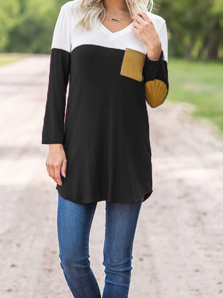 Womens Fashion Pockets Stitching Hit Color Pullover T Shirts