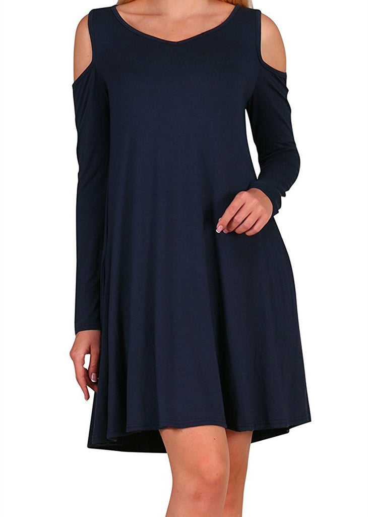 Women Loose Long-sleeved Pocket V-neck Dress Gray