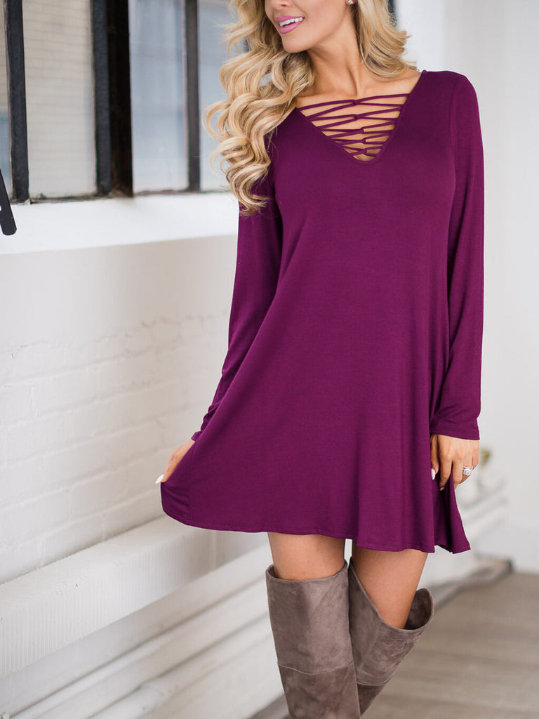 Woman Sexy Hollow Long Sleeves Gray Dress