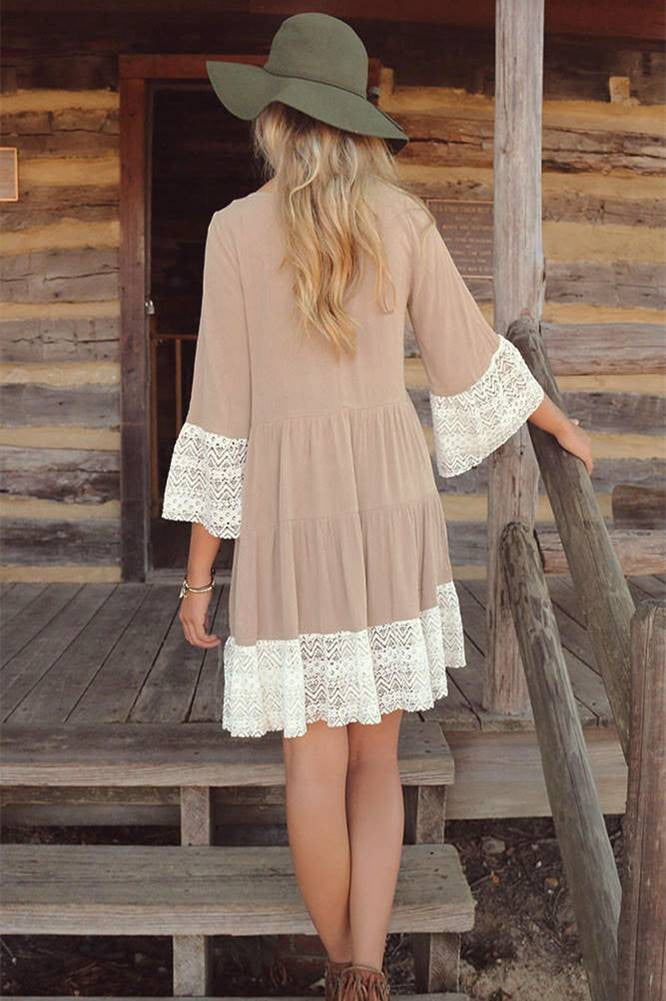 Fashion Ladies Lace Stitching Dress Short Dress Loose Beige