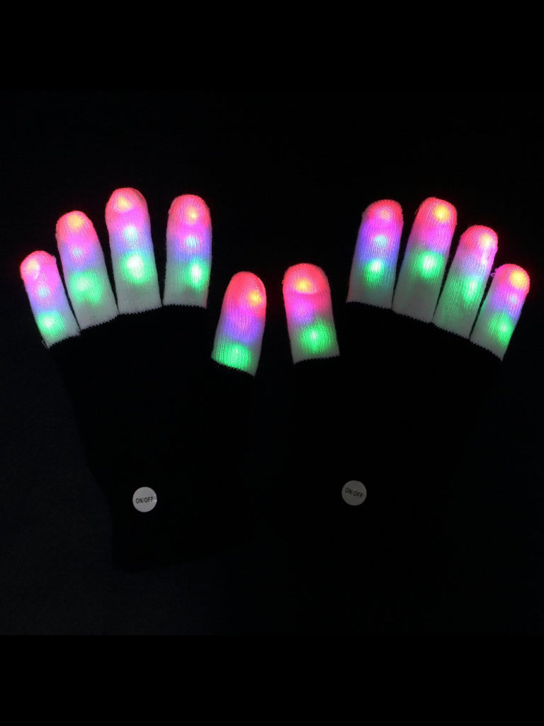 Finger Light Flashing LED Warm Gloves  Birthday Light Show Party Xmas Gift