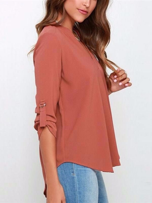 Women's Casual Chiffon V Neck Cuffed Sleeve Blouse Tops S-5XL Wine Red