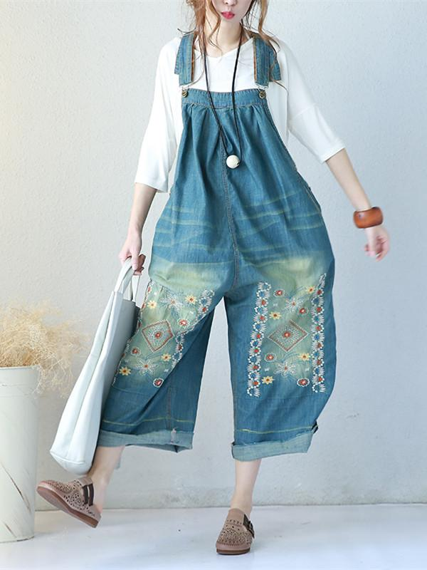 Summer Casual Loose Women Denim Jumpsuits Blue One Size