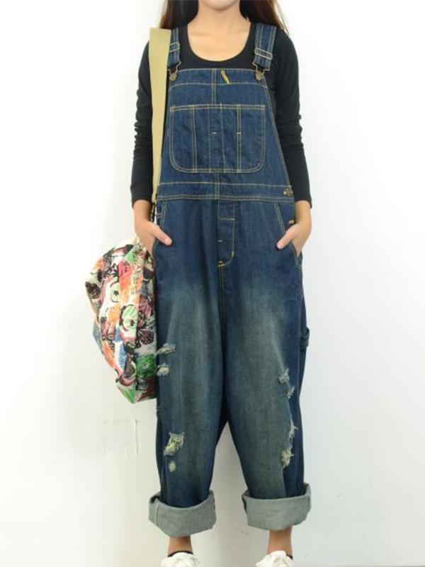 Women's Casual Loose Jumpsuit Romper Denim Overall XS-XL
