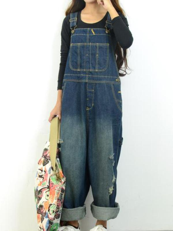 Women's Casual Loose Jumpsuit Romper Denim Overall XS-XL Blue