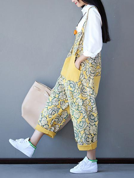 Women Small Floral Loose Plus Size Strap Pants