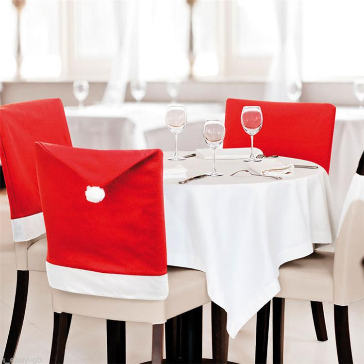 6pcs 50x60cm Christmas Chairs Back Cover Dinner Table Santa Hat Home Party Decor Gift