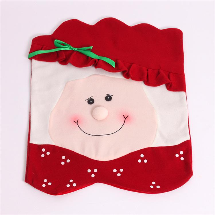1Pcs Santa Claus Chair Cover Christmas Set Decorations Xmas Seat Cover Festive Christmas Chair Covers Indoor Decoration