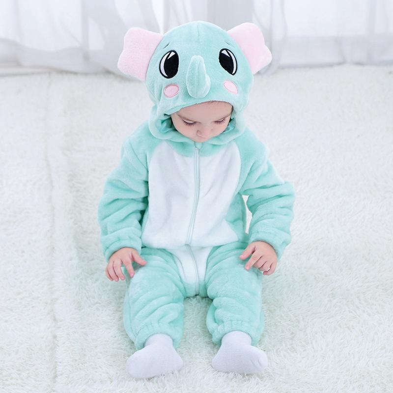 Baby Boys Girls Cute Elephant Hoodie Romper Jumpsuit Outfits