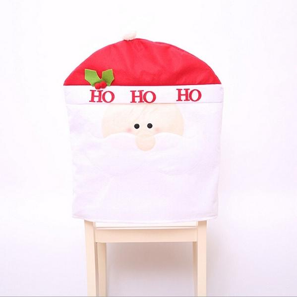1pcs Santa Claus Snowman Elk Cap Chair Cover Christmas Dinner Table Party Red Hat Chair Back Covers Xmas Decoration