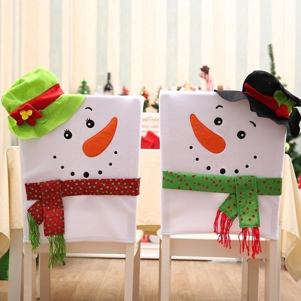 1pcs 41*64cm Christmas Decor Cartoon Snowman Chair Back Cover Christmas Dinner Party Chair Covers