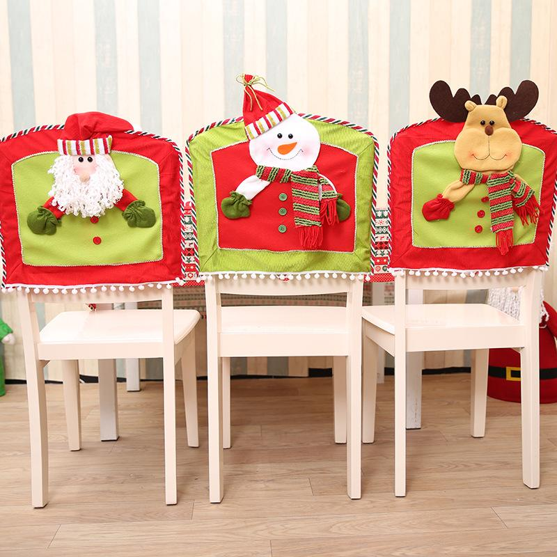 1pcs 42*47cm Christmas Decor Cartoon Snowman Elk Chair Back Cover Christmas Dinner Party Chair Covers