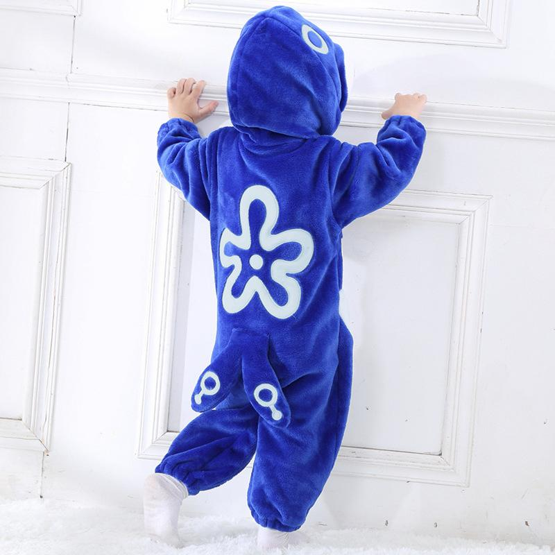 Baby Boys Girls Cute Blue Goldfish Hoodie Romper Jumpsuit Outfits