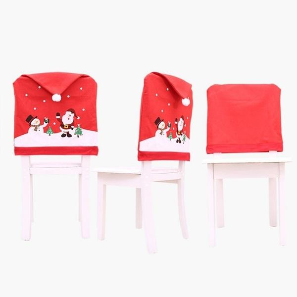 1 pcs Home Decoration Chair Covers Santa Claus Christmas Chair Cover Diy New Year Christmas Cap Decoration Of Chair Corners
