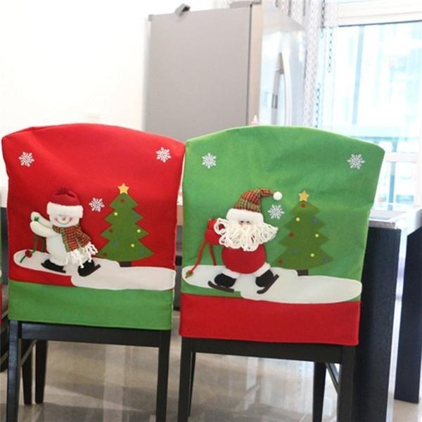 1Pc Skidding Santa Claus Christmas Chair Cover Skiing Style Event Xmas Party Chair Dinner