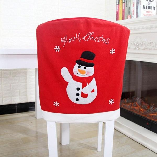 1 pcs 50*56cm Chair Back Covers Santa Claus Snowman Chair Cover Christmas Dinner Party Décor