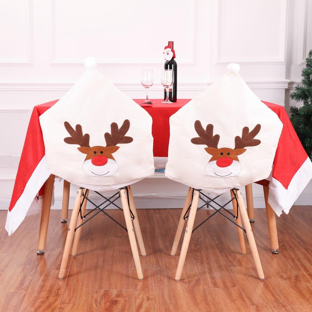 1 pcs 50*60cm Deer Hat Chair Covers Christmas Decor Dinner Elk Chair Back Cover