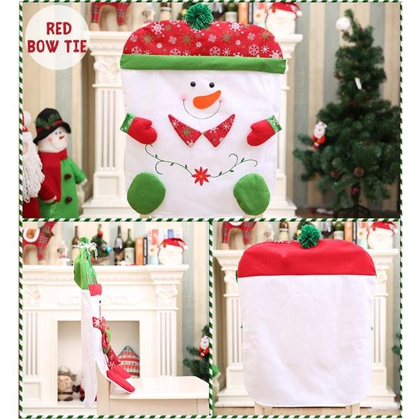 3 Types Christmas Chair Back Cover Santa Snowman Red Green Christmas Eve Decoration For Home Dinner Party