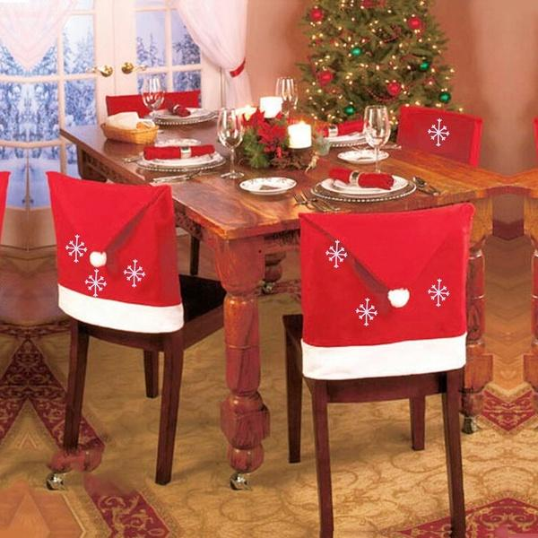 1 pcs 50*60cm Christmas Hats Snowflake Chair Cover Cap Christmas Table Decoration for Home New Year Christmas Decoration