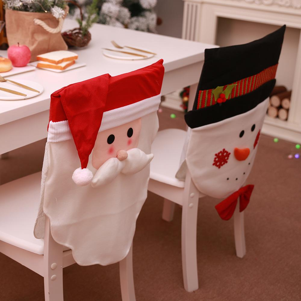 1 pcs Cute Christmas Decoration Santa Hat Chair Covers For Home Dinner Table Chair Party Supply