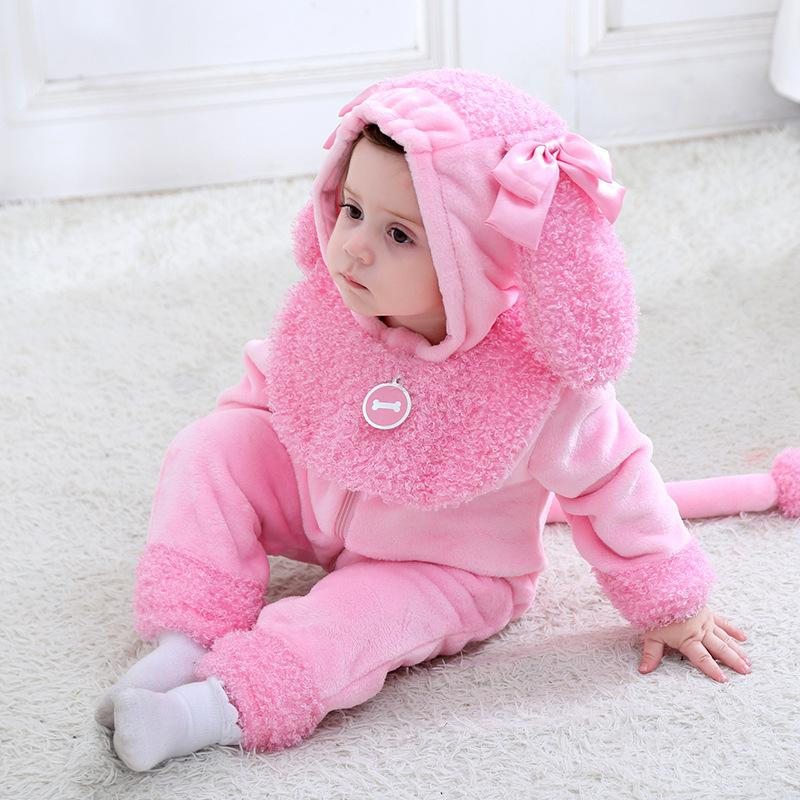 Baby Boys Girls Cute Animal Dog Hoodie Romper Jumpsuit Outfits