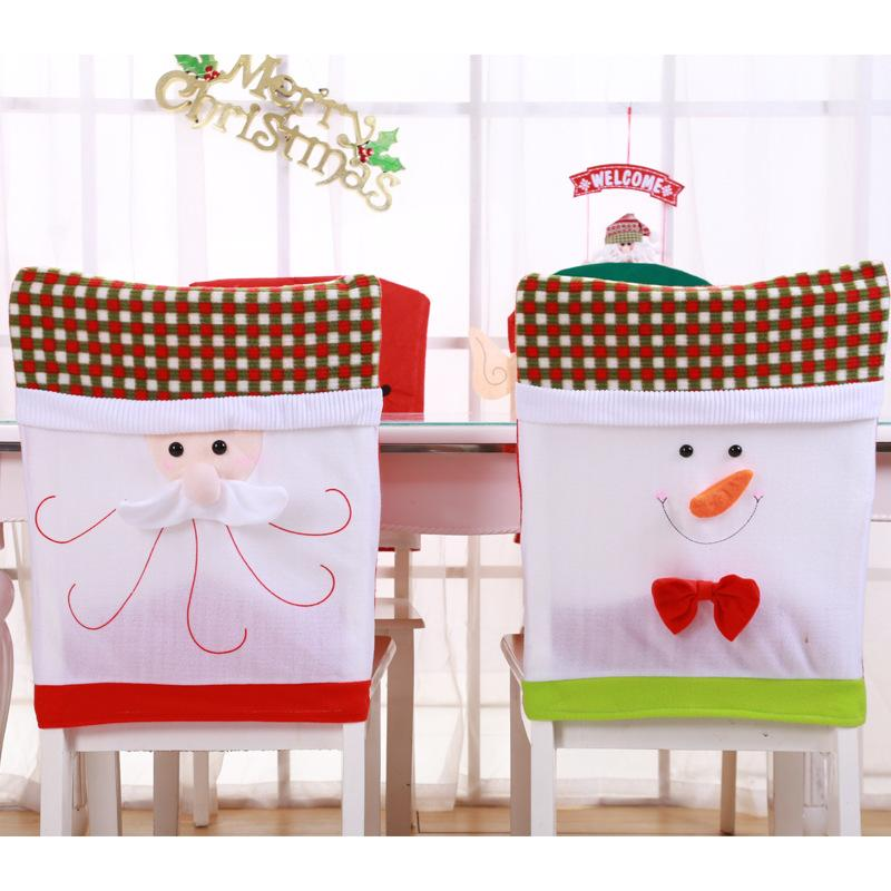 1 pcs Knitted Embroidery Christmas Chair Cover Santa Snowman With Bow Chair Cover Christmas Table Decoration