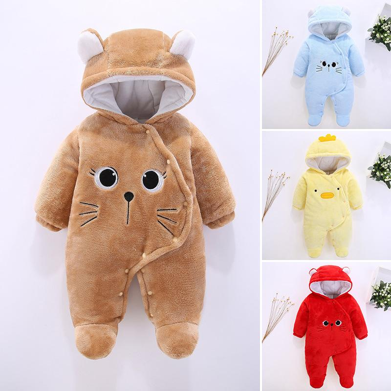 Cute Unisex-baby Flannel Romper Animal Pajamas Outfits Suit Jumpsuit