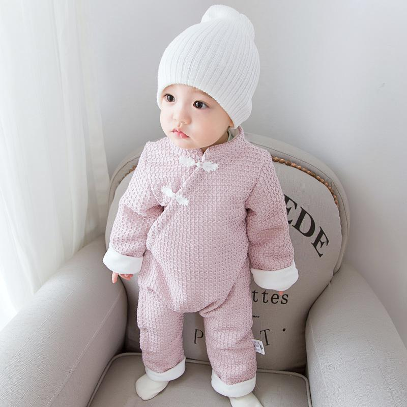 Crossbody Buckle And Velvet One-piece Suit Baby Outfit Romper