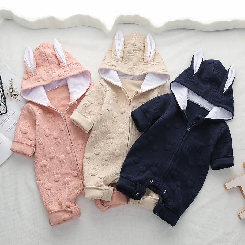 Baby Boys Girls Cute Rabbit Autumn Hoodie Romper Jumpsuit Outfits