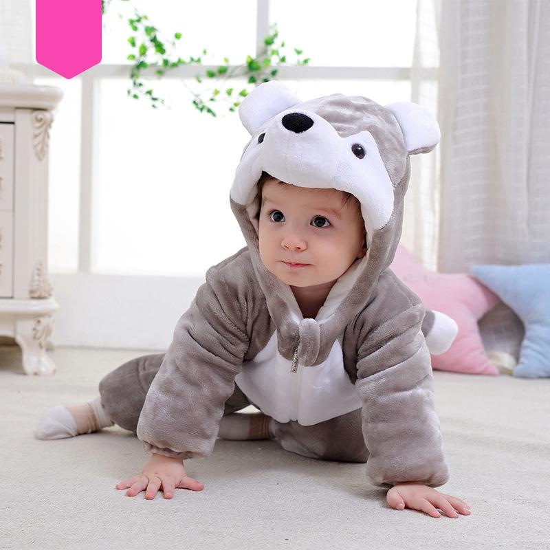 Baby Boys Girls Cute Flannel Cartoon Thick Winter Hoodie Romper Jumpsuit Outfits