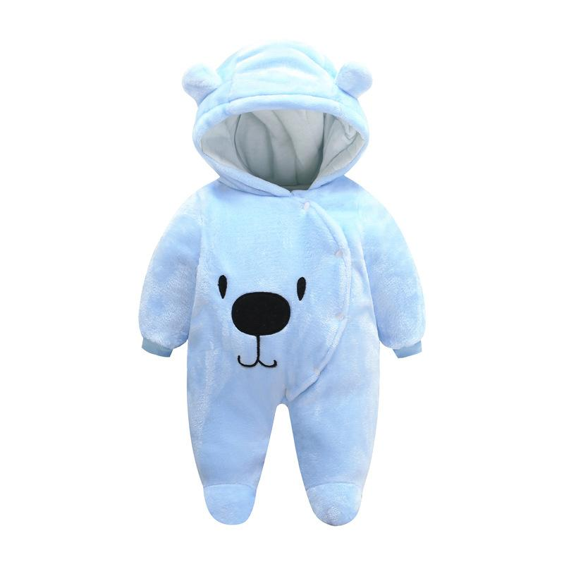 Baby Boys Girls Cute Bear Thick Winter Hoodie Romper Jumpsuit Outfits