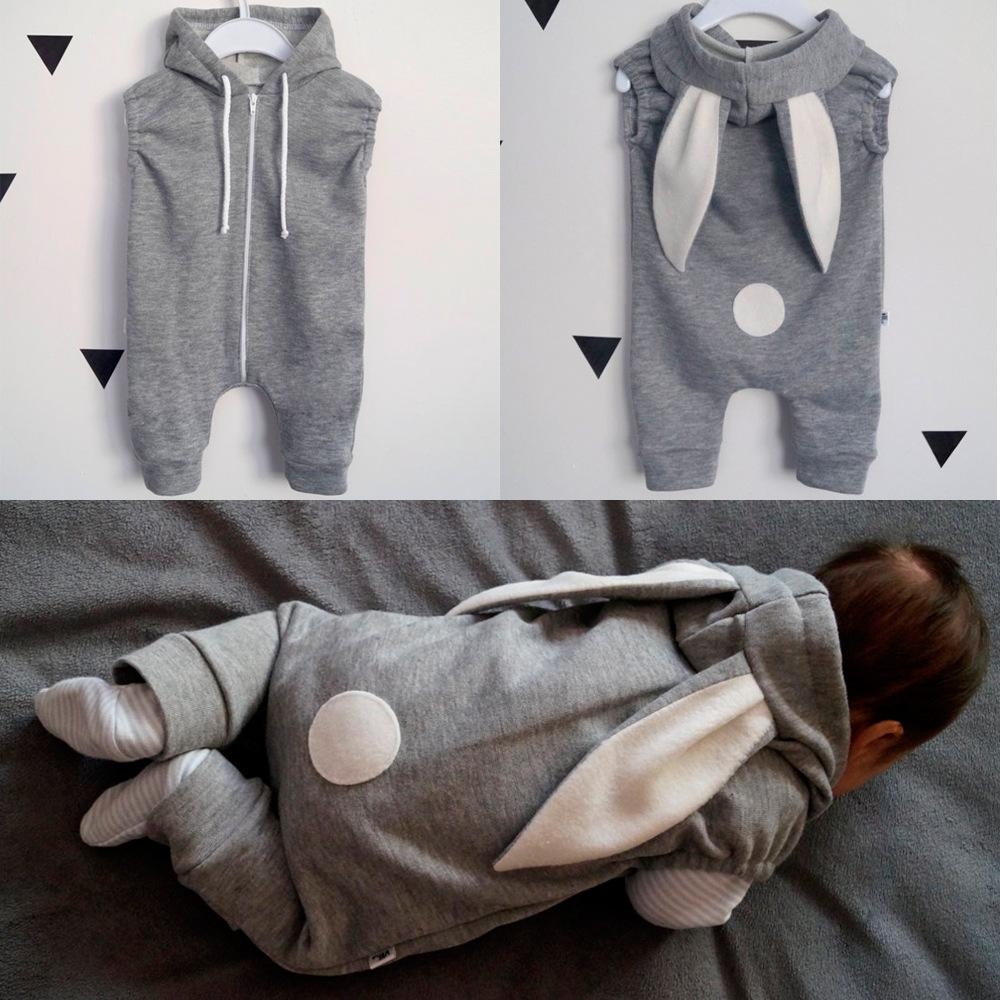Baby Boys Girls Cute Rabbit Style Sleeveless Hoodie Romper Jumpsuit Outfits
