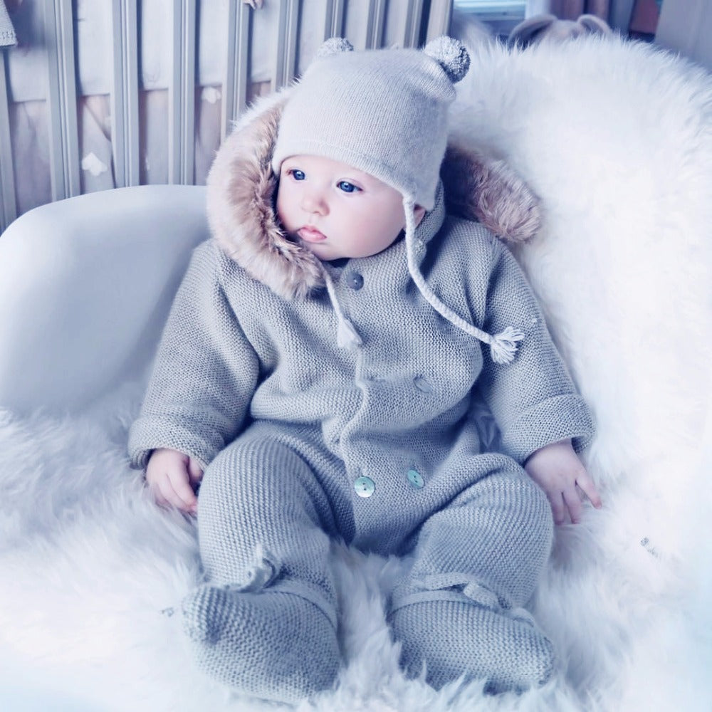 Winter Clothes Newborn Baby Boy Girl Knitted Sweater Jumpsuit raccoon Fur Hooded Kid Toddler Outerwear